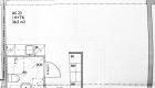 Asuntojen 1, 12 ja 23 pohjapiirros. Osa asunnoista on peilikuvia.
