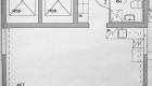 Asuntojen 7, 18 ja 29 pohjapiirros. Osa asunnoista on peilikuvia.